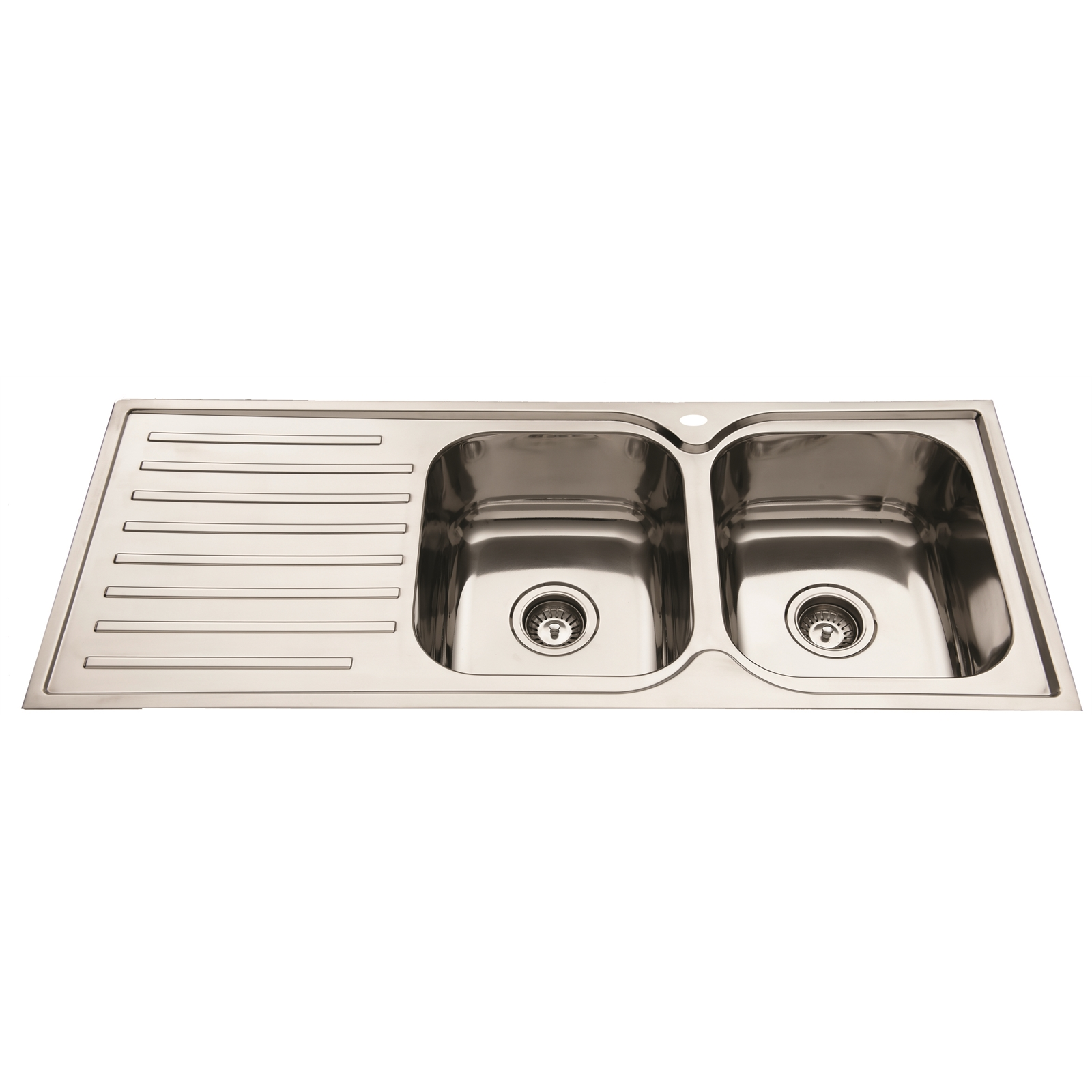 SQUARELINE 1180 - DBL BOWL S/S SINK - RHB - 1TH