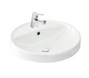 ARGENT AZURE ROUND COUNTER TOP BASIN WITH ONE TAP HOLE 450MM