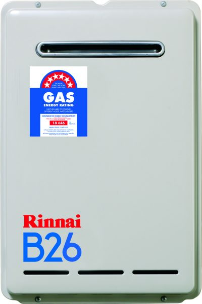 RINNAI B26 CONTINUOS FLOW 50 DEGREE LPG HOT WATER UNIT