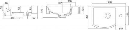 ARGENT AZURE SMALL HANDWASH BASIN 455x255MM Product Image 3