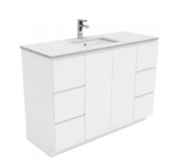 FIENZA 1200MM FINGERPULL VANITY WITH SARAH BIANCO MARBLE TOP