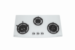 GOLDLINE THREE BURNER WHITE GLASS COOKTOP WITH CAST IRON TRIVETS & CURVED FRONT Product Image 2