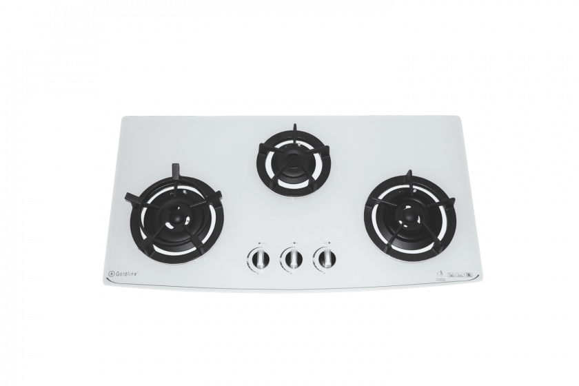 GOLDLINE THREE BURNER WHITE GLASS COOKTOP WITH CAST IRON TRIVETS & CURVED FRONT Product Image 1