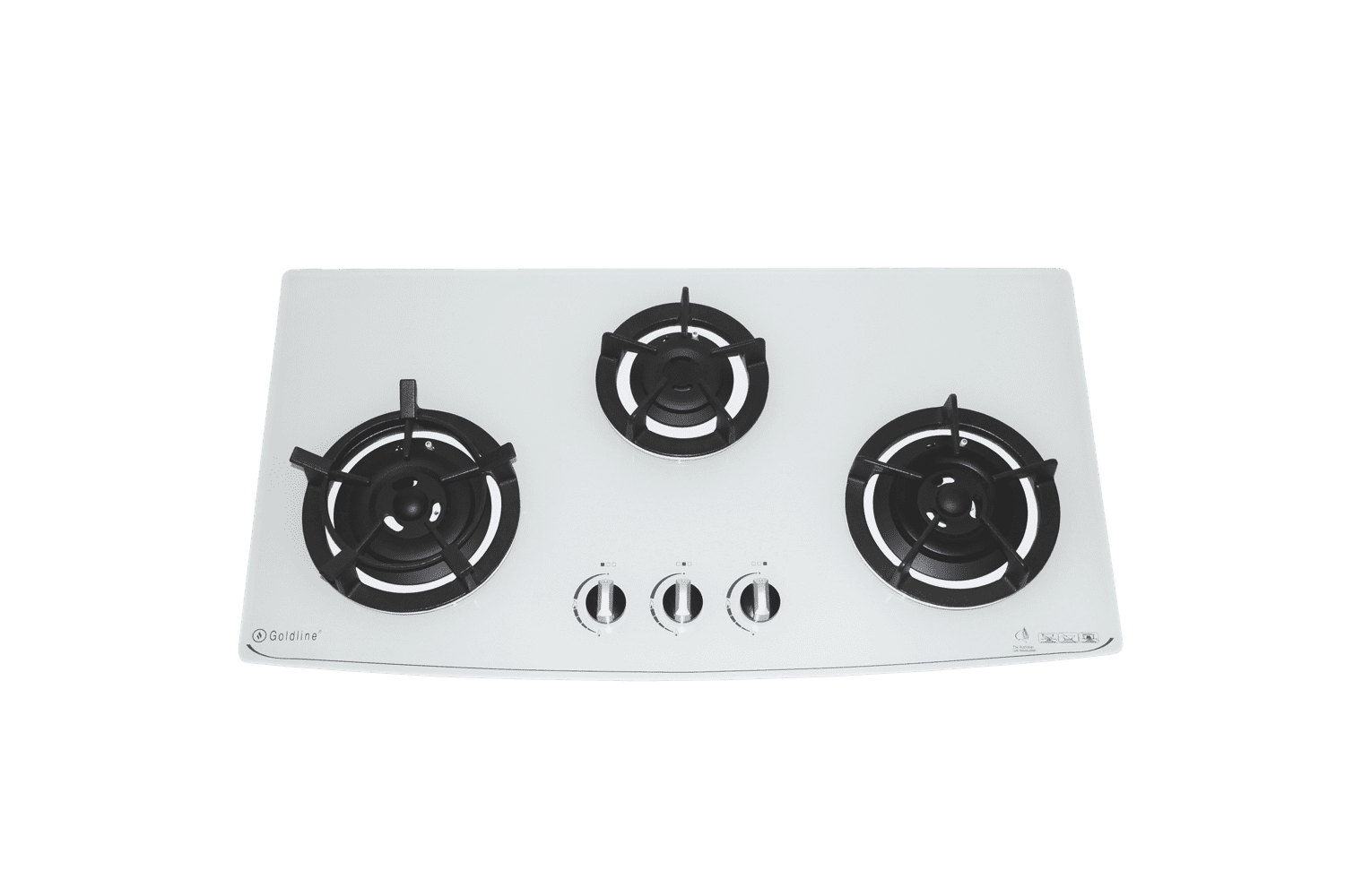 GOLDLINE THREE BURNER WHITE GLASS COOKTOP WITH CAST IRON TRIVETS & CURVED FRONT