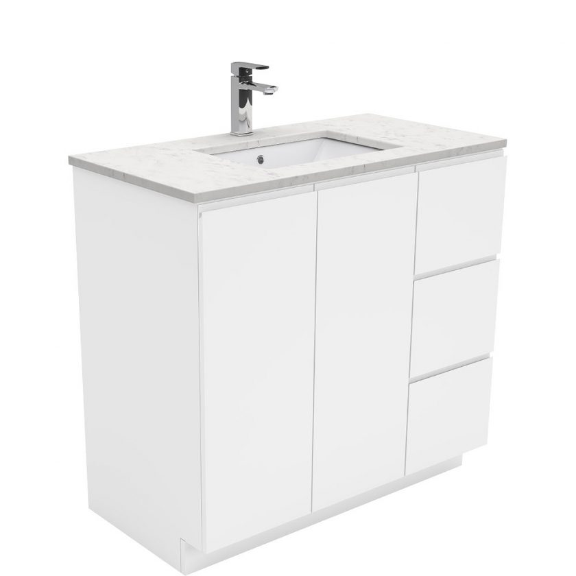 FIENZA 900MM FINGERPULL VANITY WITH SARAH BIANCO MARBLE TOP Product Image 1