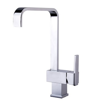SQUARE GOOSENECK KITCHEN SINK MIXER WITH DESIGNER HANDLE CHROME