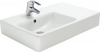 ARGENT EVO ASYMMETRIC WALL BASIN WHITE WITH ONE TAP HOLE 650X425MM