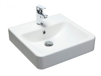 ARGENT EVO SQUARE COUNTER TOP BASIN WITH ONE TAP HOLE 450X450MM