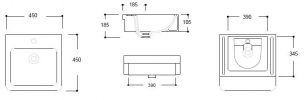 ARGENT EVO SQUARE COUNTER TOP BASIN WITH ONE TAP HOLE 450X450MM Product Image 3