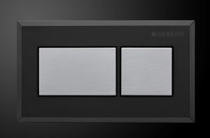 GEBERIT SIGMA PNEUMATIC PLATE BRUSHED CHROME WITH BLACK TRIM