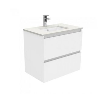 FIENZA 750MM QUEST DOUBLE DRAW WALL HUNG VANITY WITH SARAH STONE TOP