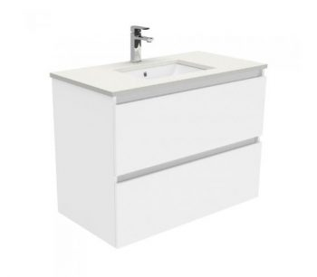 FIENZA 9000MM QUEST DOUBLE DRAW WALL HUNG VANITY WITH SARAH STONE TOP