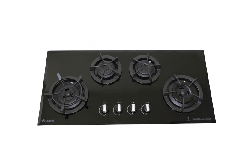 4 BURNER BLACK GLASS COOKTOP WITH CAST IRON TRIVETS & BEVELED EDGE Product Image 1