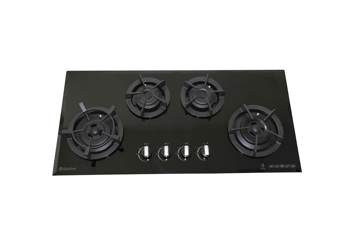 GOLDLINE FOUR BURNER BLACK GLASS COOKTOP WITH CAST IRON TRIVETS & BEVELED EDGE