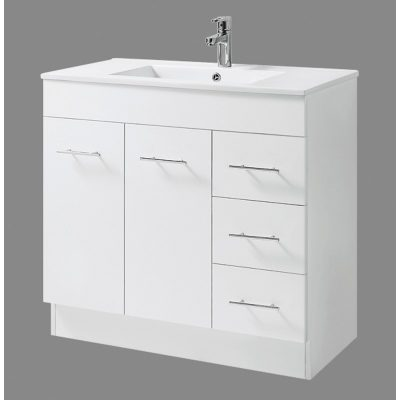 OSTAR 900X460 VANITY WITH VITREOUS CHINA TOP ON KICKER