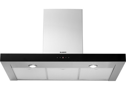 BLANCO 90CM S/S TOUCH CONTROL R/HOOD BLACK GLASS