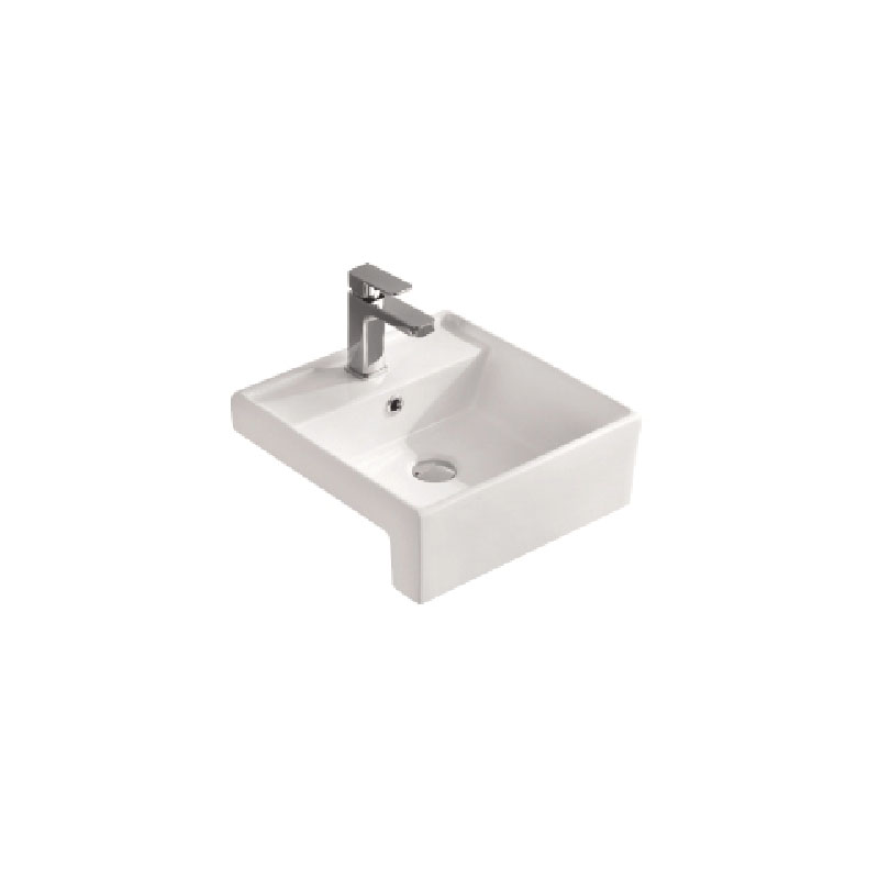 CERAMIC EXCHANGE SQUARE SEMI-RECESSED BASIN 410X410MM