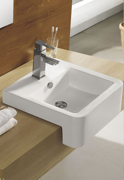 SQUARE S/REC BASIN 480X480MM CURVED FRONT KN211-1 Product Image 1