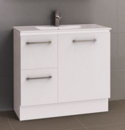 TIMBERLINE NEVADA FLOOR STANDING VANITY 900MM WITH CERAMIC TOP IN GLOSS WHITE