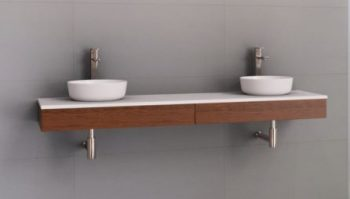 TIMBERLINE SPLICE FLOATING SHELF VANITY 1800MM IN MILANO WALNUT