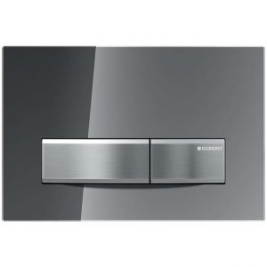 GEBERIT SIGMA 50 DUAL-FLUSH PLATE SMOKED REFLECTIVE GLASS WITH METAL BUTTON