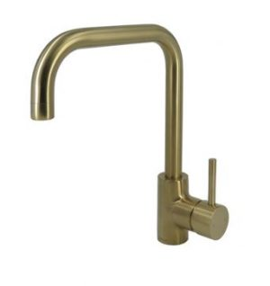 AXUS PIN LEVER SINK MIXER WITH SQUARE GOOSENECK BRUSHED BRASS