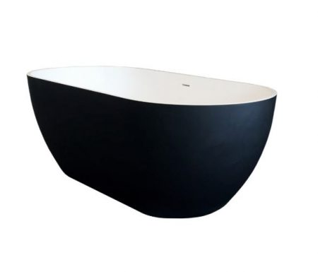 SYNERGII 1500MM SOLID SURFACE FREESTANDING BATH WITH OVERFLOW WHITE & BLACK