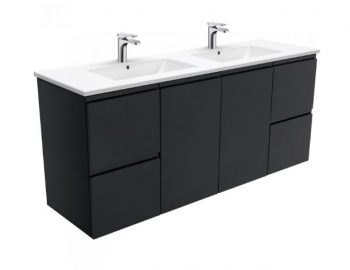 FIENZA MATTE BLACK FINGERPULL VANITY 1500MM WITH DOLCE CERAMIC TOP & DOUBLE BASIN