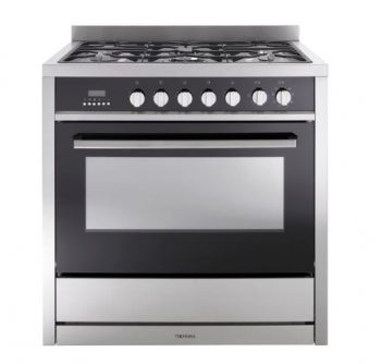TECHNIKA 90CM BLACK GLASS FRONT FREESTANDING DUAL FUEL OVEN Product Image 1