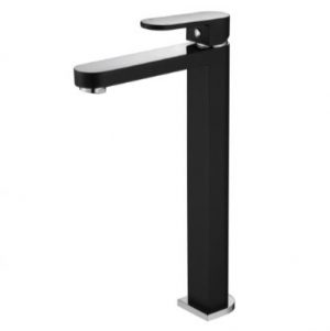 MODERN NATIONAL EVA MINI TALL BASIN MIXER BLACK AND CHROME