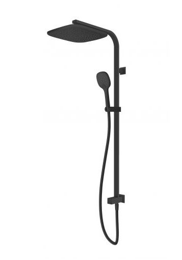 AQUAS ULTRA 3 TWIN SHOWER SYSTEM WITH BOTTOM INLET MATTE BLACK