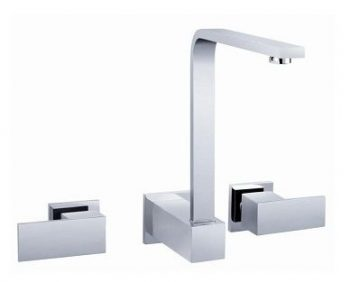 AUSSIELIFE SQUARE WALL SINK SET CHROME