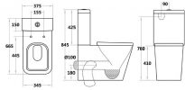 YUKON WALL FACED TOILET SUITE WITH S/CLOSE SEAT Product Image 3
