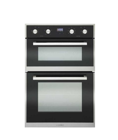 TECHNIKA 60CM BUILT IN DOUBLE OVEN WITH BLACK GLASS FRONT