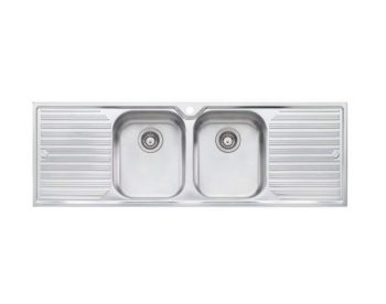 OLIVERI DOUBLE BOWL SINK WITH DOUBLE DRAINER