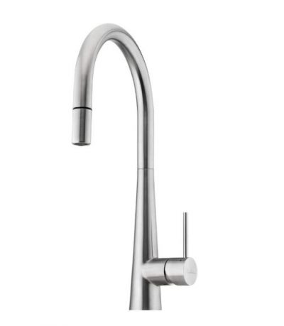OLIVERI ESSENTE STAINLESS STEEL GOOSENECK SINK MIXER WITH PULL OUT