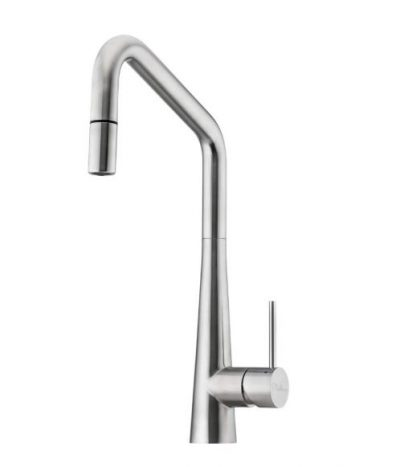OLIVERI ESSENTE STAINLESS STEEL SQUARE GOOSENECK SINK MIXER WITH PULL OUT