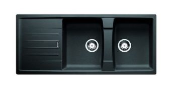 BLANCO LEXA SILGRANIT DOUBLE BOWL SINK WITH DRAINER ANTHRACITE Product Image 1