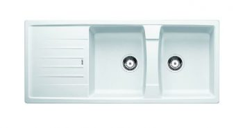 BLANCO LEXA SILGRANIT DOUBLE BOWL SINK WITH DRAINER WHITE Product Image 1