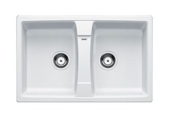 BLANCO LEXA SILGRANIT DOUBLE BOWL SINK WHITE
