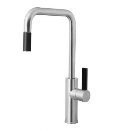 ABEY ARMANDO VICARIO LUZ SQUARE ARCHED SINK MIXER WITH PULL OUT BRUSHED CHROME
