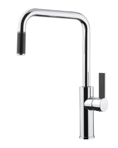 ABEY ARMANDO VICARIO LUZ SQUARE ARCHED SINK MIXER WITH PULL OUT CHROME