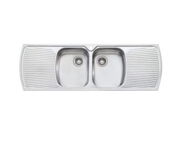 OLIVERI MONET DOUBLE BOWL SINK WITH DOUBLE DRAINER
