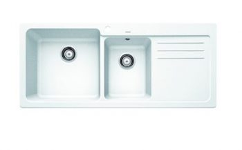 BLANCO NAYA SILGRANIT ONE AND HALF BOWL SINK WITH DRAINER WHITE