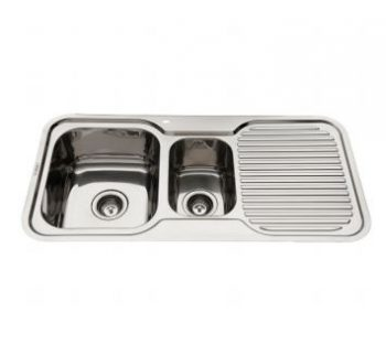 EVERHARD NUGLEAM ONE AND HALF BOWL SINK WITH RIGHT HAND DRAINER Product Image 1