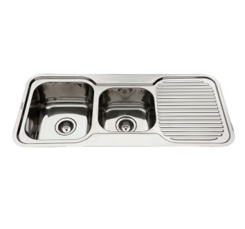 EVERHARD NUGLEAM ONE AND THREE QUARTER BOWL SINK WITH RIGHT HAND DRAINER Product Image 1