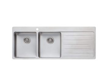 OLIVERI SONETTO DOUBLE BOWL TOPMOUNT SINK WITH DRAINER - RHB & LHB AVAILABLE