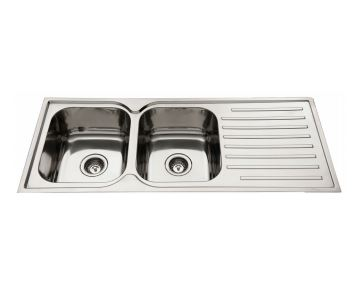 EVERHARD SQUARELINE DOUBLE BOWL SINK WITH LEFT HAND DRAINER Product Image 1