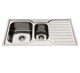 EVERHARD SQUARELINE ONE AND HALF BOWL SINK WITH RIGHT HAND DRAINER Product Image 1