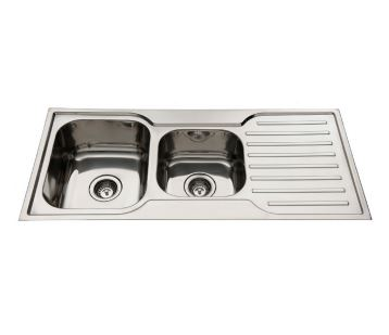 EVERHARD SQUARELINE ONE AND THREE QUARTER BOWL SINK WITH RIGHT HAND DRAINER Product Image 1